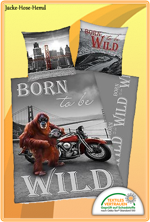 Bettwäsche Born to be Wild Affe